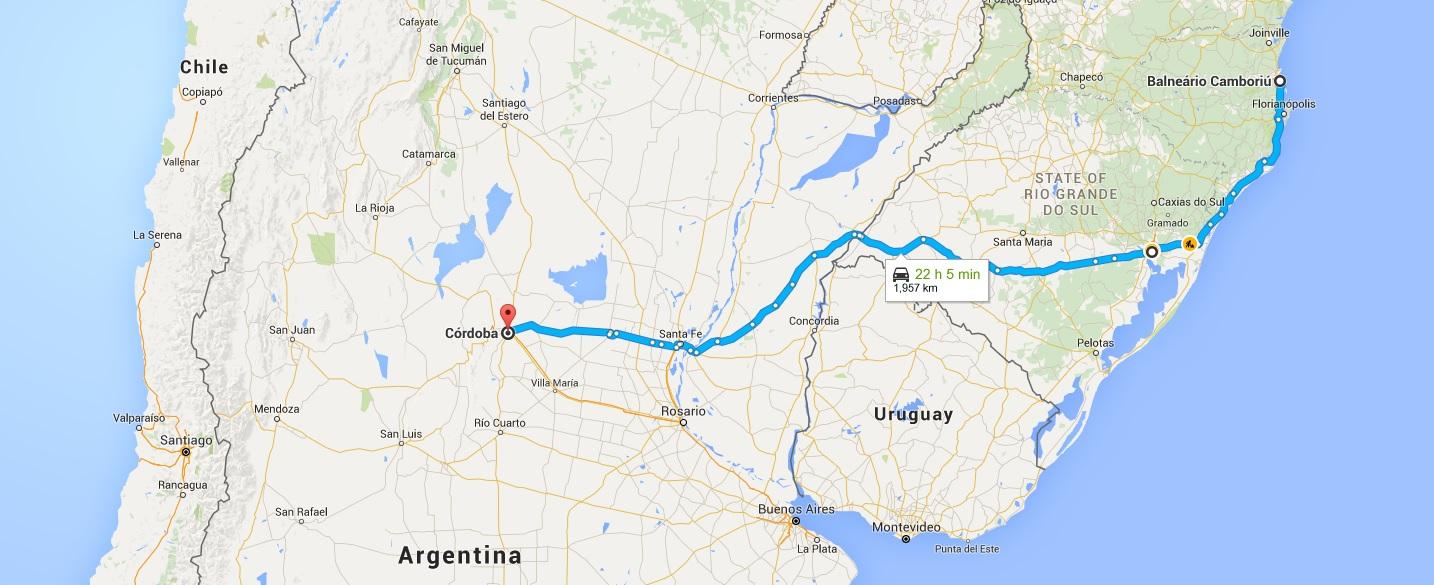Rota planejada para Cordoba - Argentina
