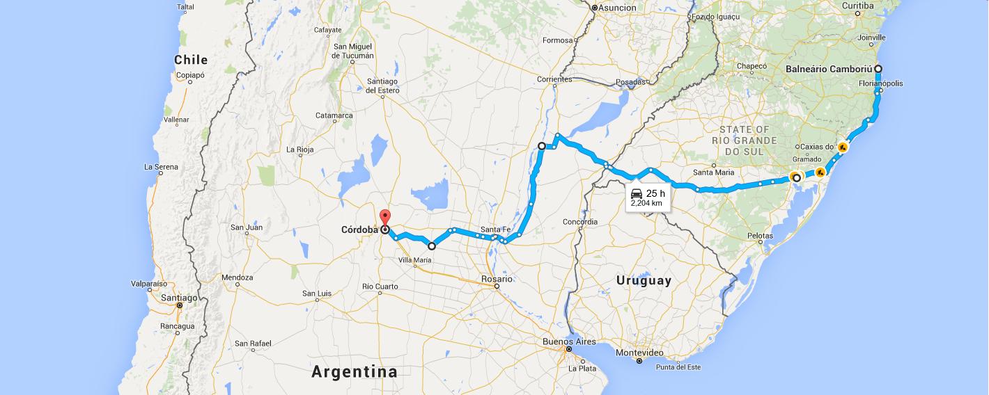 Rota realizada para Cordoba - Argentina